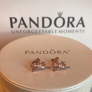 c8a51921c Pandora Jewelry | Sparkling Bow Stud Earrings Rose Gold New | Poshmark